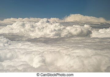sommet, nuages, fenêtre, avion, vue