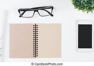 sommet, objets, contemporain, blanc, bureau