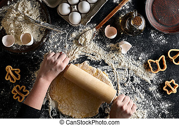 sommet, pâte, vue, mains, noir, épingle, femme, rouler, table.