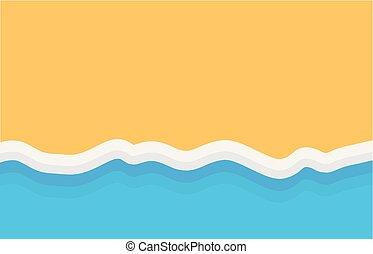 sommet, plage, sablonneux, fond, vue