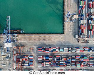 sommet, port, logistique, vue