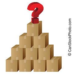 sommet, question, boîtes, marque