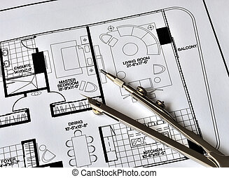 sommet, résidence, compas, floorplan
