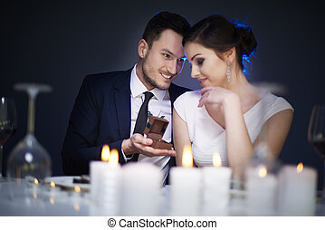 sommet, romantique, proposer, vue