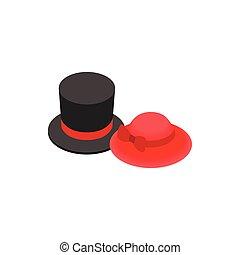 sommet, rouges, femme, chapeau, ruban, icône