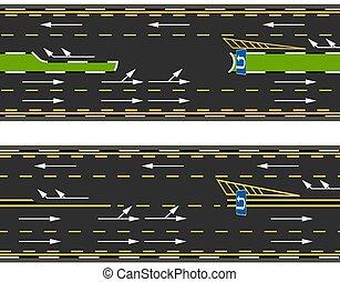 sommet, rue., u-turns, route, marking., autoroute, vue, ...