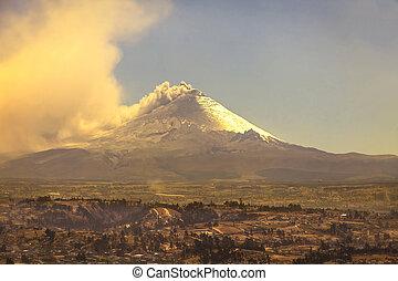 sommet, seconde, équateur, volcan, cotopaxi, plus haut