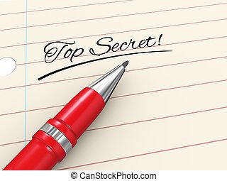 sommet, -, stylo, top secret, papier, 3d