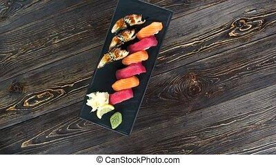sommet, sushi, vue.