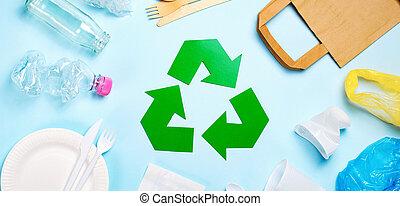 sommet, symbole recyclant, literie, gaspillage, vue