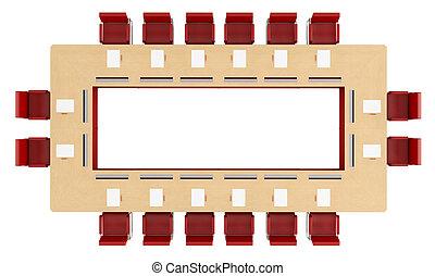 sommet table, bois, réunion, vue