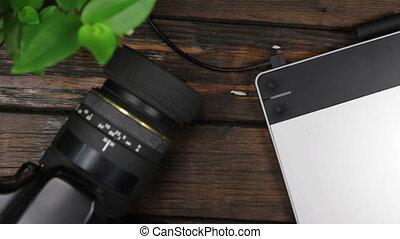 sommet, tablette, lieu travail, grue, vue, concepteur, graphiques, overview., prise vue., appareil photo