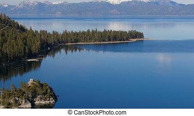 sommet, tahoe, lac, vue