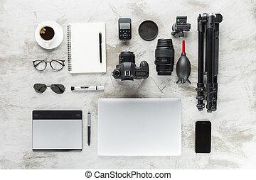 sommet, travail, accessoires, table, photographie, vue