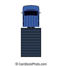 sommet, véhicule, vue, plat, isolé, logistique, expédition, voiture., icône, commercial., camion, camion, cargaison, livraison, vecteur, fourgon, industrie, transport., automobile