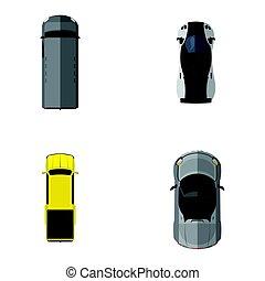 sommet, véhicules, vue