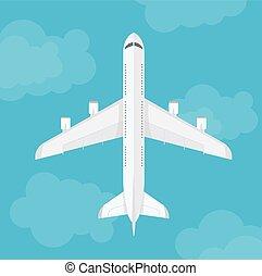 sommet, vecteur, vue, avion, clouds.
