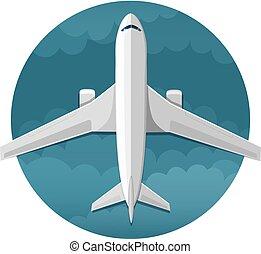 sommet, vecteur, vue, avion, icône