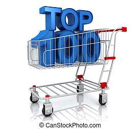 sommet, vendeurs, marché, cart., concept., mieux