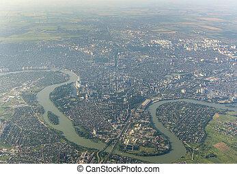 sommet, ville, rivière, kuban, vue, krasnodar, russie