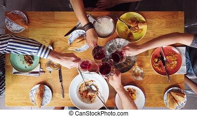 sommet, vin, groupe, table., avoir, repas, amis, vue, ...