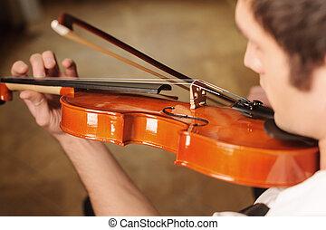 sommet, violin., violon, homme, jouer, vue