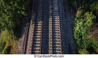 sommet, voler, vue., ferroviaire, pistes, sur