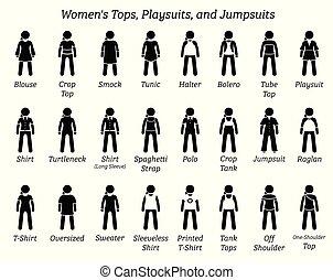 sommets, playsuits, jumpsuits., femmes