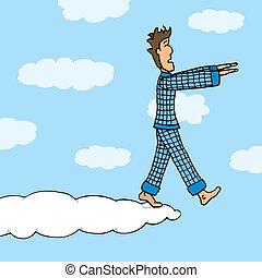 Somnambulant guy walking on cloud