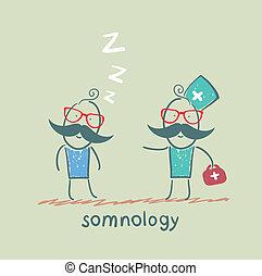 somnology, έρχομαι , ασθενής , κοιμάται