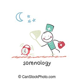 somnology catches hours. Fun cartoon style illustration. The...