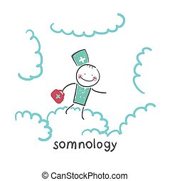 somnology flying in the sky in the clouds