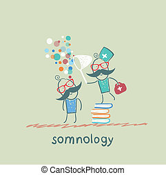 somnology standing on a pile of books and dreams of catching a butterfly net patient