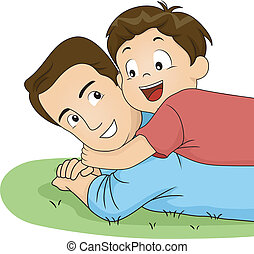 Son and Dad Hug - Illustration of a Son Hugging His Father
