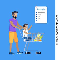 Son and Father Making Purchases by Shopping List