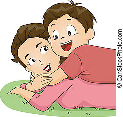 Son and Mom Hug - Illustration of a Son Hugging His Mother