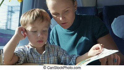 Son and mother with pictured book in train