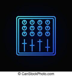 son, bleu, contour, mélangeur, sombre, vecteur, fond, icône