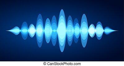 son, bleu, stéréo, vibrations, compensateur, énergie, spectre, analyseur, forme onde, vecteur, musique, illustration, sons, voix, résumé, wave.