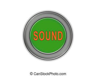 son, bouton, volume, arrière-plan vert, blanc