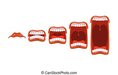son, changements, yelll., level., volume, bouche, scream., langue, ouvert, teeth., étape