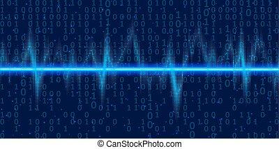 son, code binaire, osciller, résumé, néon, illustration, vecteur, light., fond, vagues, technologie, lueur