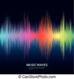 son, compensateur, arc-en-ciel, arrière-plan., musique, vagues