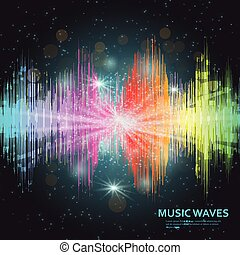 son, compensateur, arc-en-ciel, lumières, arrière-plan., musique, vagues