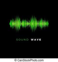 son, compensateur, arrière-plan., battement, wave., illustration, sombre, ligne., vecteur, musique, audio