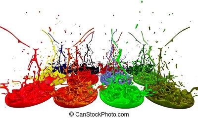 son, composition., multi coloré, liquide, pot, juteux, clair, peinture, render, éclaboussure, paint., 6, 3d, speaker., coloré, composition, aimer