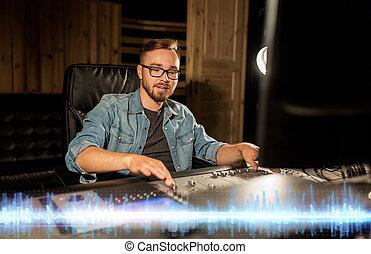 son, console, studio enregistrement, mélange, ingénieur