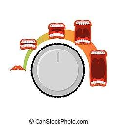 son, contrôle, tourner, knob., ouvert, volume., level., cri, ajuster, bouche, mètre, ora., langue, audio, changements, teeth., étape