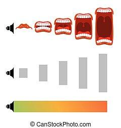 son, contrôle, tourner, knob., ouvert, volume., level., cri, ajuster, bouche, mètre, scream., langue, audio, changements, teeth., étape