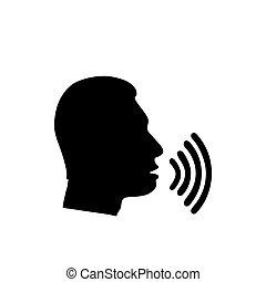 son, conversation, voix, icône, vagues